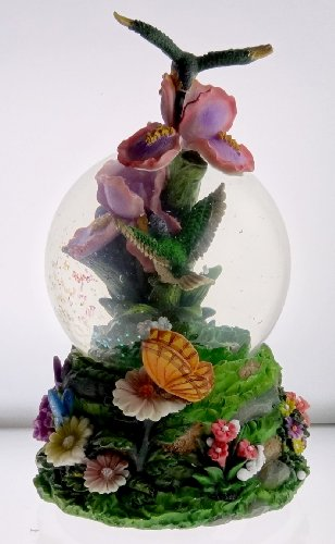 Sculptured Hummingbird in Flight over Iris Snow Globe - Water Ball Musical