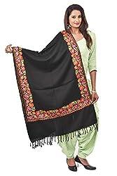 Weavers Villa - Womens Kashmiri Floral Embroided Black Woollen Shawls , Stoles