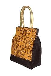 Foonty tote women yellow medium jute lunch bags(FFFWB5005)