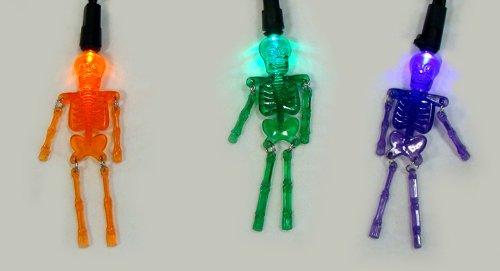 Sienna Purple Orange and Green LED Skeleton Halloween Lights with Black Wire, Set of 20
