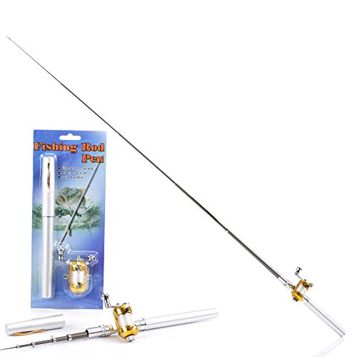 Housweety Mini Pocket Portable Aluminum Alloy Telescopic Pen Fishing Rod Pole White