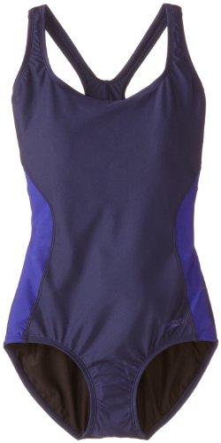 Speedo Women's Powerflex Illusion Splice Ultraback Swimsuit, Nautical Navy, 12