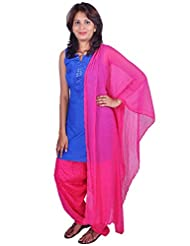 Womens Cottage Fuchsia Cotton Jacquard Patiala & Chiffon Dupatta Set