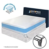 Hot Sale Best Price Mattress California King 13-inch Gel Memory Foam Mattress + Bed Frame Set with bracket + Skirt