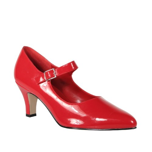 Wedding Shoes: DIVINE 3 Inch Block Heel D'orsay Mary Jane Pump Shoes Red Patent Pleaser-Pleaser Wedding Shoes-Pleaser Wedding Shoes: DIVINE 3 Inch Block Heel D'orsay Mary Jane Pump Shoes Red Patent Pleaser-Pump Wedding Shoes