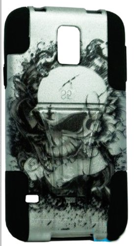 Mylife Deep Coal Black And Scary Skull Design - Neo Hybrid Series (Built In Kickstand) 2 Piece + 2 Layer Case For New Galaxy S5 (5G) Smartphone By Samsung (External Hard Fit Armor With Built In Kick Stand + Internal Soft Silicone Rubberized Flex Gel Bumpe