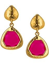 Bindhani Gold Plated Trendy Hot Pink Crystal Earrings For Women
