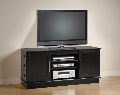 Plasma TV Stand Console Table - Black Finish