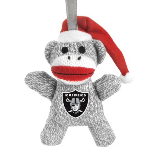 NFL Oakland Raiders 5 in Sock Monkey Stuffed Christmas Ornament