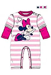 Disney Minnie Mouse Baby Girls Striped Coverall - Pink White