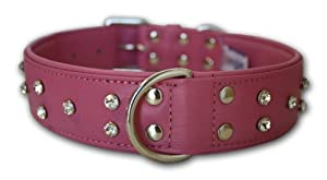 "Rhinestones Bling Leather Dog Collar, Wide, Padded, Double-Ply, Riveted Settings, 26""x1.5"", Pink, 100% Genuine Leather (Athens). Neck Size: 20""-24"""