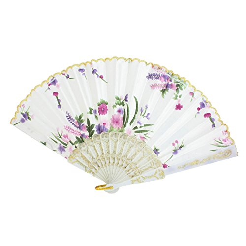 uxcell® Plastic Frame Flower Pattern Polyester Handheld Folding Fan White