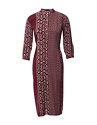 Azra Jamil Fine Cotton Maroon And White Aztec Printed Traditional Kurti For Women