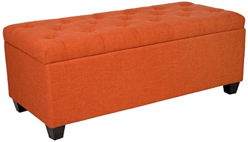 Tufted Orange Linen Wall Hugger Storage Ottoman