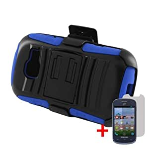 SAMSUNG GALAXY CENTURA S738C BLACK BLUE BELT CLIP HOLSTER CASE HYBRID KICKSTAND COVER + SCREEN PROTECTOR from [ACCESSORY ARENA]