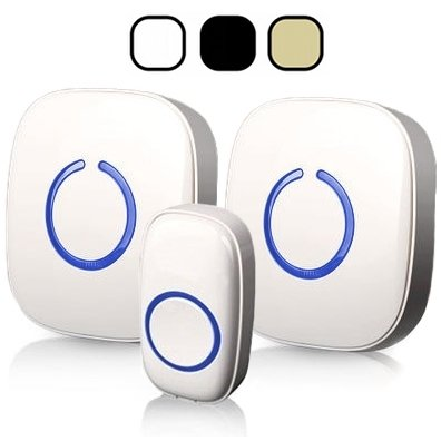 SadoTech Model CXR Wireless Doorbell with 1 Remote Button and 2 Plugin Receivers Operating at over 500-feet Range with Over 50 Chimes, No Batteries Required for Receivers, (White), Fixed Code C Series