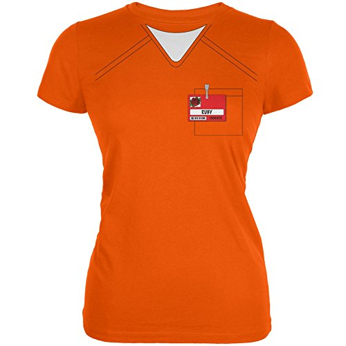 Halloween Prisoner Uniform Costume Ruby Rose Inmate Orange Juniors Soft T-Shirt