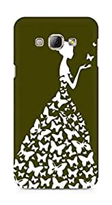 AMEZ designer printed 3d premium high quality back case cover for Samsung Galaxy A8 (mehendi green white girl princess)