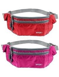 2pc Sport Bum Bag Fanny Pack Travel Waist Money Belt Zip Pouch Wallet