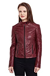 WOMEN'S RED STAND-UP COLLAR LEATHER JACKET