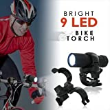 Bright 9 LED Bike Torch - Weatherproof Bicycle Headlight