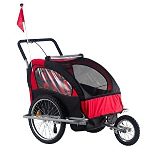 Aosom Elite 2in1 Double Child Bike Trailer / Jogger - Red