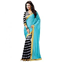 Shree Fashion Hub Printed BLUE-GREY Bhagalpuri Silk Saree With Blouse Piece