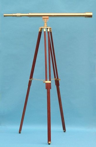44-Inch Clear Coated Solid Brass Harbormaster Telescope On A Mahogany Tripod With Standard Mount