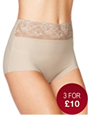 No VPL Lace Waist Full Briefs