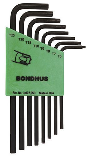 Bondhus 31832 Set of 8 Star L-wrenches, Long Length, sizes T6-T25 image