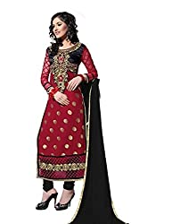 Decent World Maroon Georgette Exclusive Dress Material