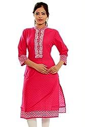 Beautiful Cotton Traditional Womens Kurta (L, Pink)