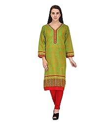 BPT Stylish Casual Wear Green Cotton Printed Woman's Kurti ( Size 3XL / 46