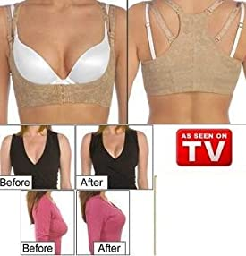 Contour Bra Ultralight Instantly Increase 2 Cup Sizes Lifts Bust (Beige)