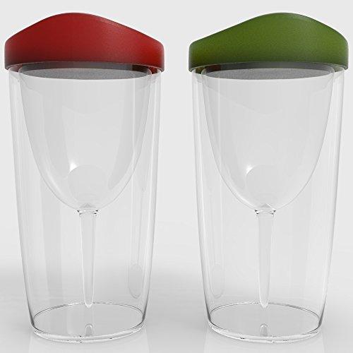 Wineova Plastic Wine Glasses With Lid 10 Ounze Set Of 2