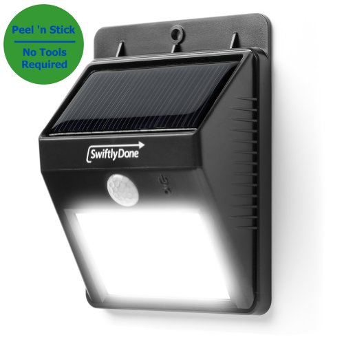 Swiftly Done™ Bright Outdoor LED Light Solar Energy Powered - Weatherproof - No Tools Required; Peel 'n Stick / Motion Sensor-Detector Activated / For Patio, Deck, Yard, Garden, Home, Driveway, Stairs, Outside Wall / Wireless Exterior Security Lighting (No Battery Required) / Dusk to Dawn Dark Sensing Auto On / Off