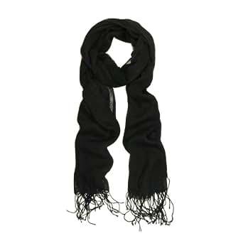 Elegant Solid Black Fringe Scarf