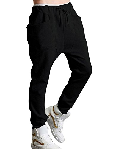 allegra k men new baggy pockets elastic waist harem pants black w28 30 apparel accessories. Black Bedroom Furniture Sets. Home Design Ideas