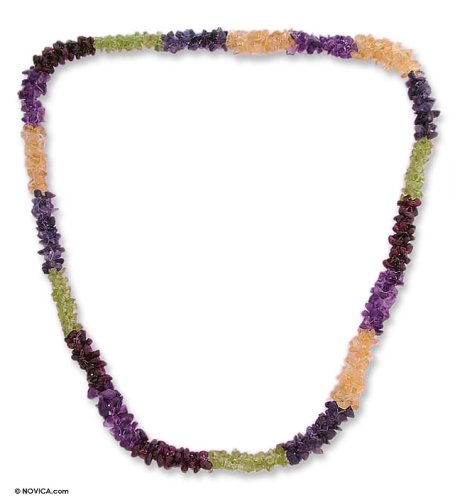 Amethyst and citrine long necklace, 'Flower Garland'