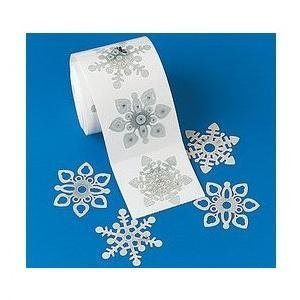 Roll of 100 SPARKLY SNOWFLAKE Prism Stickers/SHINY HOLIDAY Decorations for CHRISTMAS CARD