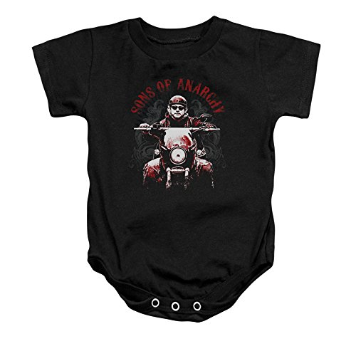 Sons Of Anarchy Tv Series Jax Ride On Soa Logo Red Tint On Black Romper Snapsuit