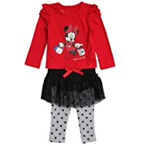 Disney Infant Baby Girls 2 Piece Minnie Mouse Top Tutu Skirt Polka Dot Leggings