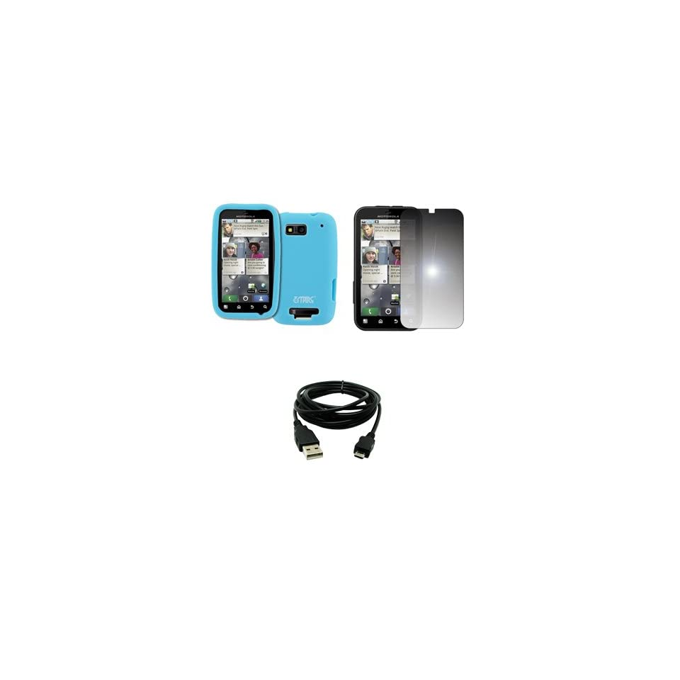 EMPIRE Light Blue Silicone Skin Case Cover + Mirror Screen Protector + USB Data Cable for T Mobile Motorola Defy MB525