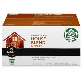 Starbucks House Blend Medium Roast 0.42 Oz (12g) K-Cup Ground Coffee for Keurig Brewers (Box of 54)