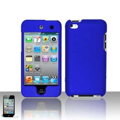 Apple Ipod Touch 4th Generation Navy Blue Hard Cover Case + Bonus 5.5 inch Baby Blue Phone Cleaning Cloth