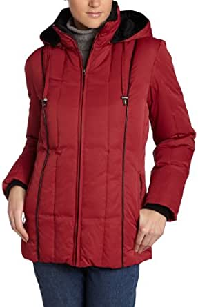 Liz Claiborne Women's Three Quarter Down Hooded Jacket,Authentic Red,Small