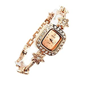 Fashion Womens Girls Luxury Rhinestone Golden Plum Flower Decoration Bracelet Wrist Watch