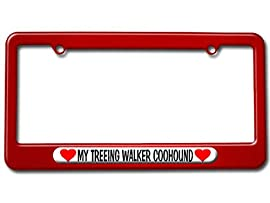 My Treeing Walker Coonhound Love with Hearts License Plate Tag Frame - Color Red