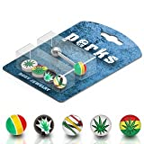 Body Accentz™ 14G 5/8 Barbell Bonus Package with Interchangeable Assorted Tops Tongue Ring - Rasta Pot Leaf Balls Marijuana