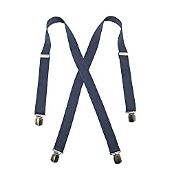 Men's Navy, Regular Size - No Slip Hold - Twin Pin Clip Suspenders (up to 48in)